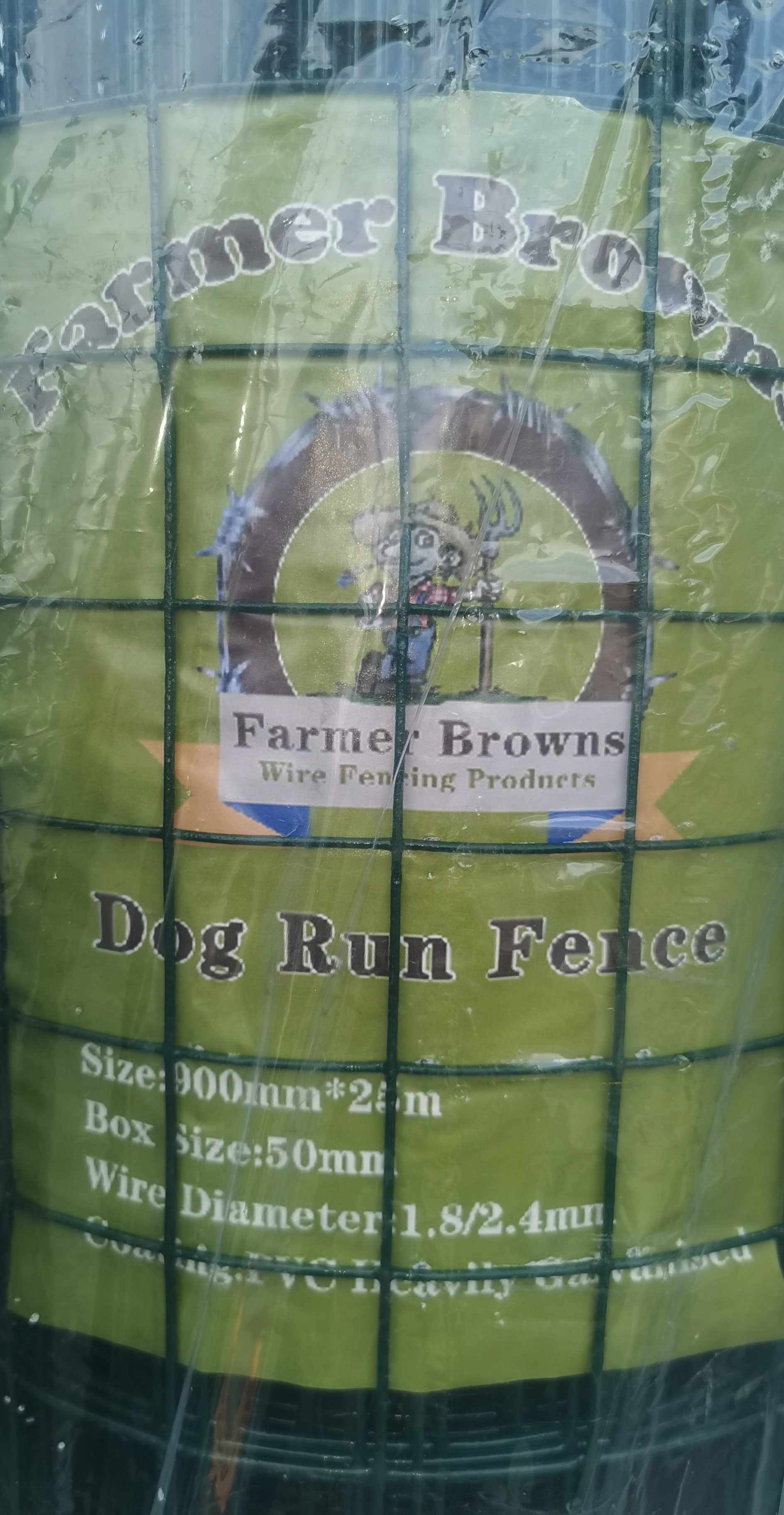 PVC Coated Green Dog Run Fence 900mm x 25m, 1.8/2.4mm, 50x50mm