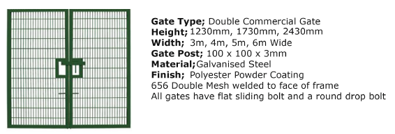 Double Mesh 4m x 1200mm Commercial Double Gate