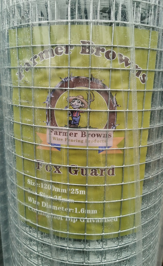 Galvanised Fox Guard Fence 1200mm x 25m, 1.6mm diameter, 25x25mm